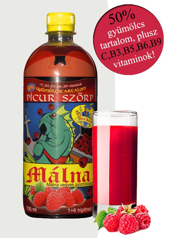 Picur málnaszörp 50% gyümölcstartalommal, 6 féle vitaminnal