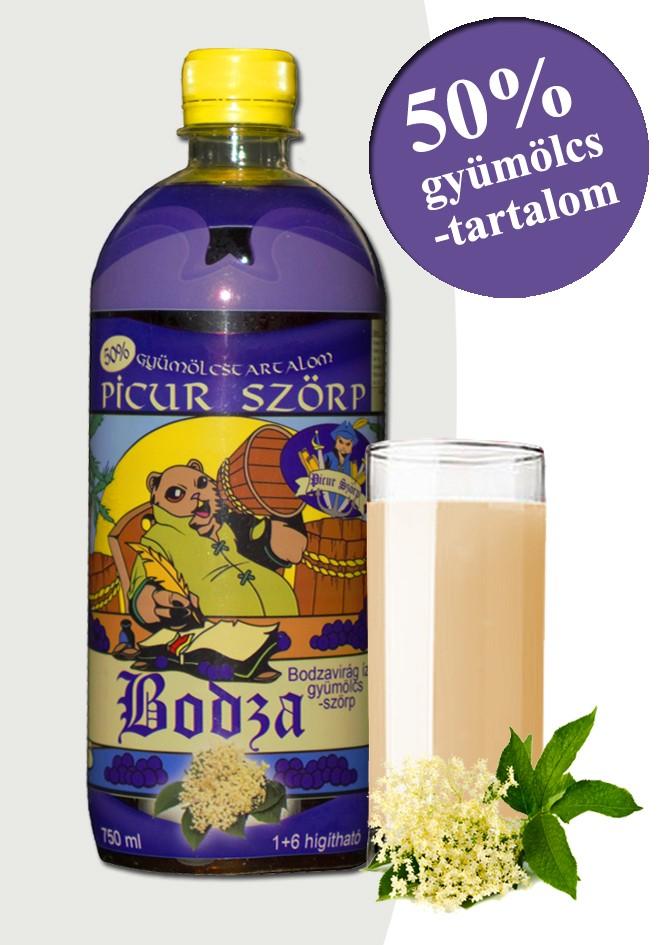 Picur bodzavirág ízű szörp 50% gyümölcstartalommal.