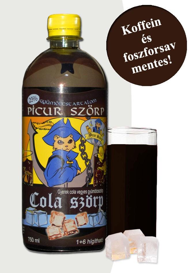 Picur cola szörp 25% gyümölcstartalommal. Koffeint és foszforsavat nem tartalmaz!